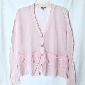 J Jill / pink linen cardigan